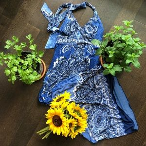 Carole Little blue paisley halter dress